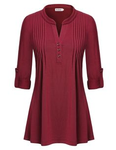 Women's Sleeve V Neck Pleated Tunic Tops - - Clothing, Tops & Tees, Tunics Via Appia Due, Stylish Dress Designs, Cool Outfits, Fashion Outfits, Casual Tops For Women, Office Outfits Women, Blouse Dress, Couture, Clothes For Women