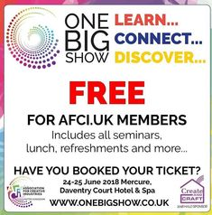 Looking forward to seeing @cassiebrowncake @sharoncalliscrafts @bertandgerts @afci.uk @littleweepolly and many more today at this fabulous event.  #onebigshow #afci-uk #designer #retailer #createandcraft #createandcrafttv #conference #learning #seminars #mentoring #suppliers