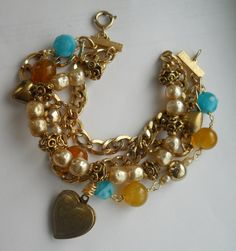 Vintage Pearl Locket Bracelet Recycled Layered by Vinchique, $40.00