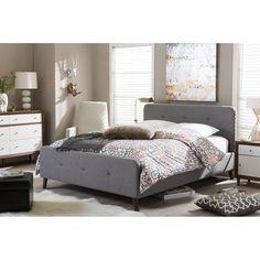Baxton Studio Laurio Mid-century Grey Fabric Upholstered Platform Bed