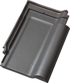 Zwart/grijze keramische dakpannen. Deze kleur past bij alle kleuren die we voor de woningen willen gebruiken.