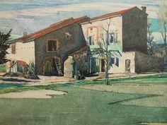 Ille-sur-Têt marker panel Blanc-Ontoine Mackintosh watercolour 1925 Hunterian Art Gallery, University of Glasgow