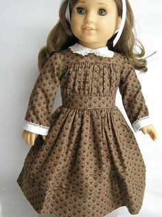 1850's dress in brown print for your 18 by nancysdollcloset