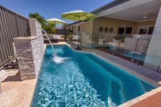 Concrete Pools Adelaide SA - Freedom Pools' custom designed concrete swimming pools can enhance with your outdoor entertainment area and lifestyle needs. Swimming Pool Waterfall, Swiming Pool, Swimming Pools Backyard, Swimming Pool Designs, Backyard Pool Designs, Small Backyard Pools, Pool Images, Pool Colors, Pool Water Features