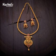 Jewelry OFF! Elegantly crafted necklace studded with ruby stones and plated with polish Gold Earrings Designs, Gold Jewellery Design, Necklace Designs, Fancy Jewellery, Gold Necklace Simple, Gold Jewelry Simple, Necklace Set, Ruby Necklace, Trendy Jewelry