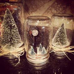 This seems pretty easy to make... I think if you followed these steps it would work.  1. Splatter a small amount of white paint on the inside of a mason jar. 2. Glue fake snow to the under side of the lid.  3. Hot glue any trees or decorations you wish. 4. Gently screw on the jar. 5. Tie ribbon or straw on the outside.  Now you're done! ♥