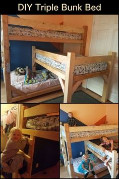 Do you have three kids and not enough room for three beds? This DIY triple bunk bed is the solution to your worries!  Now all three kids can share a room and the best part? You can configure the dimensions to fit your kids' bedroom! This is perfect for families living in tight household situations! Backyard Chicken Coops, Chickens Backyard, Triple Bunk Beds, Three Kids, Easy Diy Projects, Cool Things To Make, Kids Bedroom, Diy Furniture, Book Shelves