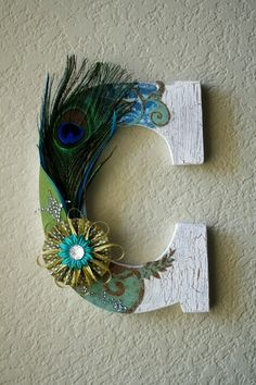 Wooden Wedding Initial Monogram Peacock Letters by LolaMonkey.This would be a great baby girl's decoration idea. Peacock Crafts, Peacock Decor, Peacock Theme, Peacock Wedding, Peacock Baby, Peacock Colors, Peacock Design, Wedding Flowers, Floral Design