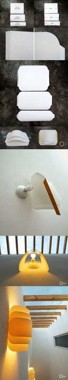 Lámpara de pared con papel doblado / Via www.Ohohblog.com