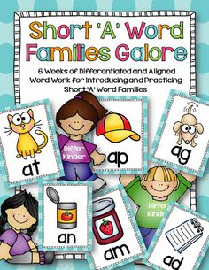 Short 'a' Word Families Galore Word family study is an essential part of reading instruction. They represent patterns in our language. By masterin. English Worksheets For Kindergarten, Differentiated Kindergarten, Kindergarten Reading, Kindergarten Activities, Teaching Reading, Differentiated Instruction, Guided Reading, Teaching Ideas, Preschool Literacy