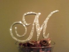 Wedding Cake Topper- Silver glitter letters & initials for your wedding cake. $20.00, via Etsy.
