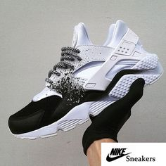 07aa7af708b Air Huarache Custom Black White Spray Painting Trainer Outlet