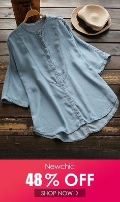 ZANZEA Denim Loose Solid Color Button Down Shirt look not only special, but also they always show ladies' glamour perfectly and bring surprise. Come to NewChic to choose the best one for yourself! Denim Button Up, Button Up Shirts, Button Downs, Shop Now, Glamour, Lady, Blouse, Shopping, Color