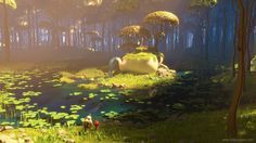 Dive into The Art of Milan Vasek, a Senior Lighting Artist currently working at Axis Animation. Cartoon Background, Animation Background, Landscape Concept, Fantasy Landscape, Matte Painting, Environment Concept Art, Environment Design, Fantasy Magic, Fantasy Art