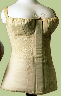 """""""Early 19th Century Corded Stays, 'Revolution in Fashion', p. 103,"""" dated c1810-20s. From a blog post with information on reproductions, techniques, and supplies, at Adventures of a Costumer."""