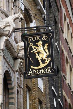 London, Smithfield & Spitalfields, The Fox & Anchor Pub Uk Pub, Storefront Signs, Nautical Signs, Best Pubs, British Pub, Pub Signs, London Pubs, Pub Crawl, Shop Fronts