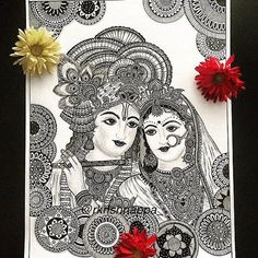 it is said the love story of Radha and Krishna spans 5 millennia - Love in its true form of devotion can make relationships timeless. Drawn with micropens and 2b pencil shadings > This print of Radha Krishna is available in 8.5 x 11 inches 11 x 17
