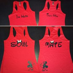LGBT Lesbian I'm Hers She's Mine Soul Mate, Soulmate, Kissing Minnie Mouse Matching Racerback Tanks, Married With Mickey