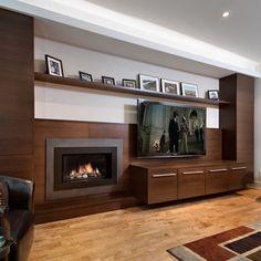 TV Wall with fire place & photo ledge