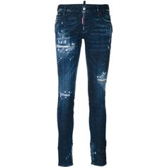 Dsquared2 Distressed Skinny Jeans (37,875 INR) ❤ liked on Polyvore featuring jeans, destroyed skinny jeans, destructed jeans, bleached ripped jeans, bleached jeans and blue jeans