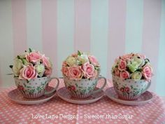 Mini bouquet centrepieces made for Sweeter than Sugar cupcake shop