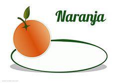 Cartel de precios para las naranjas. Frutería. Verdulería.