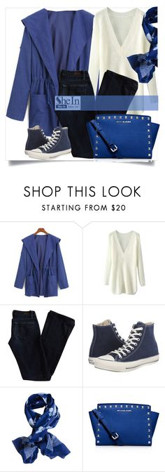 """""""#shein #blue #trenchcoat #contest"""" by mrs-rc ❤ liked on Polyvore featuring Paige Denim, Converse and MICHAEL Michael Kors"""