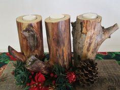 Natural Wood Candle Holder Set of 3 Rustic by DivineRusticCreation, $29.95 https://www.etsy.com/shop/DivineRusticCreation?ref=si_shop