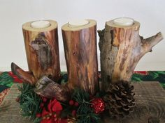 Natural Wood Candle Holder Set of 3 Rustic by DivineRusticCreation, $29.95 https://www.etsy.com/shop/DivineRusticCreation?ref=si_shop