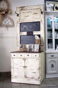 Door painted with chalkboard paint attached to storage drawers.