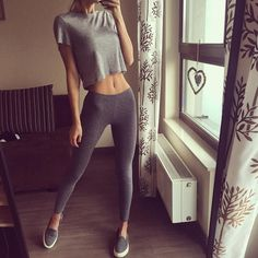 Leggings and cropped tee