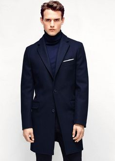 Tailored wool-blend overcoat