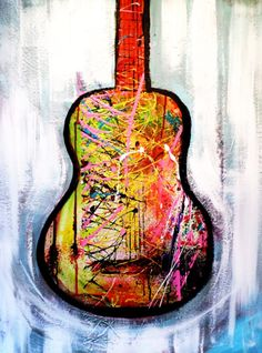 ARTFINDER: Abstract Guitar --art painting // abs... by Mo Tuncay - art painting // abstract painting // original painting // Large wall art // 24x32 inches -Mo Tuncay 24x32 inches