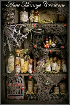 Vintage Style Witch Alchemy Steampunk Shadow Box w Lots of Miniature Detail Halloween Apothecary, Halloween Potions, Halloween Miniatures, Halloween Projects, Holidays Halloween, Halloween Crafts, Halloween Decorations, Steampunk Witch, Halloween Shadow Box