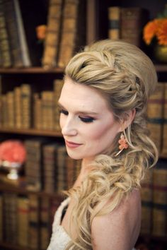 Braided & curled side ponytail. #wedding #hair