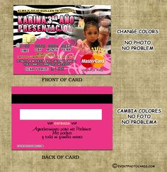 Credit Card Invitations for Quinceaneras and Weddings