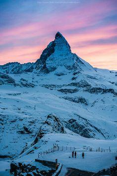 The Matterhorn at dusk - Zermatt, Switzerland (by Weerakarn on Flickr)
