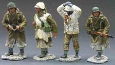 World War II U.S. Battle of the Bulge BBA006 Returning Patrol - Made by King and Country Military Miniatures and Models. Factory made, hand assembled, painted and boxed in a padded decorative box. Excellent gift for the enthusiast.