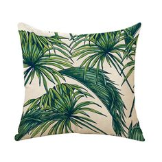 Vikenner Cotton Linen Throw Pillow Case Cover Tropical Birds Palm Leaves Flowers Plants Patterns Sofa Waist Cushion Cover For Home Car Office Decoration - - No Insert - Style 7 20x20 Pillow Covers, Throw Pillow Cases, Throw Pillows, Mediterranean Cushions, Cushions For Sale, Bolster Cushions, Pattern And Decoration, Tropical Birds, Leaf Flowers