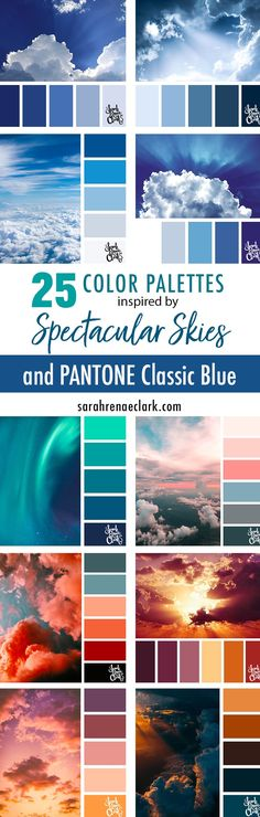 Explore the beautiful colors of the sky with these 25 color palettes inspired by spectacular skies and PANTONE's 2020 Color of the Year, Classic Blue. Color Schemes Colour Palettes, Paint Color Schemes, Color Combinations, Top Paint Colors, Valspar Colors, Color Meanings, Sunset Colors, Color Of The Year, Color Pallets