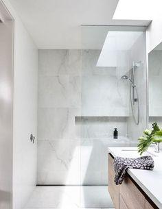 Minimalist Bathroom Décor With A Skylight – Marble Bathroom Dreams Bathroom Renos, Laundry In Bathroom, Bathroom Layout, Bathroom Interior Design, Bathroom Renovations, Bathroom Ideas, Bathroom Inspo, Minimalist Bathroom, Modern Bathroom