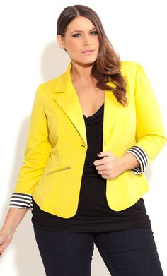 City Chic ZIP TRIM JACKET -Plus Size Fashion