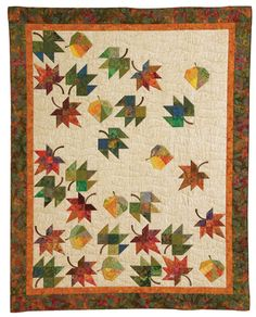 Eye-Catching Quilts: 16 Designs from the Experts at Quiltmaker Magazine (Patchwork Place) Falling Leaves quilt, in: Eye-Catching Quilts eBook by Quiltmaker Falling Leaves quilt made for Old Times Quilters Heaven with Fossil Fern batiks. Cute Quilts, Scrappy Quilts, Mini Quilts, Halloween Quilts, Quilting Projects, Quilting Designs, Quilt Modernen, Fall Quilts, Tree Quilt