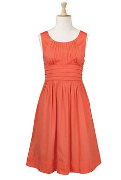 Pleat waist poplin dress