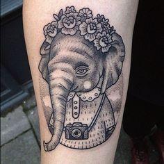 Hipster Elephant tattoo #hipster #elephant #tattoo