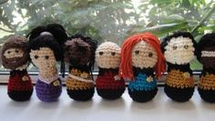 Crocheted figures of the Star Trek: Next Generation crew