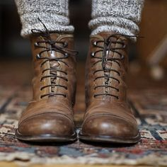 Thick socks with worn-in leather boots - great for autumn and winter