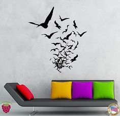 Wall Stickers Vinyl Decal Birds Creepy Scary Horror Decor Living Room (z2144)