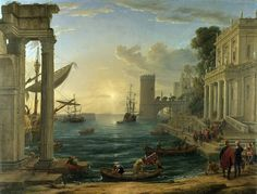 Claude Lorrain - The Embarkation of the Queen of Sheba, 1648. the New National Gallery, Trafalgar, Sq. London, England. Lorrain was one of Turner's most admired artists.  so much so he donated Dido building Carthage to the National Gallery on condition it was always hung next to this painting.  What a pair!