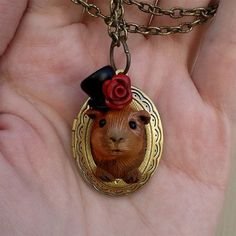 Gustave the Guinea Pig Sculpted Locket Polymer by dreamtrappings